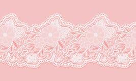 Cinta inconsútil blanca y rosada del cordón en fondo rosado Frontera inconsútil floral para el diseño ilustración del vector