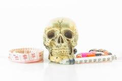 Cinta métrica de la cintura del cráneo Imagen de archivo libre de regalías