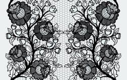 Cinta negra inconsútil ancha del cordón con las rosas Fotografía de archivo libre de regalías