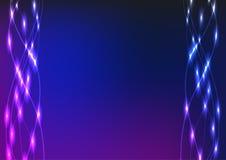 Cinta ondulada brillante azul en un fondo azul marino Imágenes de archivo libres de regalías
