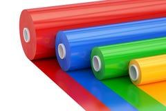 Cinta plástica Rolls, del polietileno multicolor del PVC representación 3D Foto de archivo libre de regalías