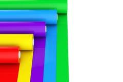 Cinta plástica Rolls del polietileno multicolor del PVC u hoja renderin 3D Fotografía de archivo libre de regalías