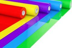 Cinta plástica Rolls del polietileno multicolor del PVC u hoja renderin 3D Imagen de archivo libre de regalías