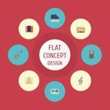 Cinta plana de los iconos, elementos musicales del instrumento, acústicos y otro del vector El sistema de Melody Flat Icons Symbo Fotos de archivo