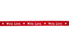 Cinta roja con amor aislada Fotos de archivo