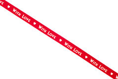 Cinta roja con amor aislada Imagenes de archivo