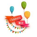 Cinta roja con título del día de los niños, globos y