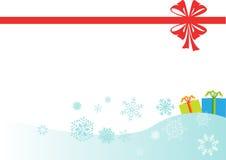 Cinta roja de la Navidad, fondo de los copos de nieve Fotos de archivo libres de regalías