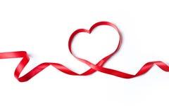 Cinta roja del corazón Fotografía de archivo libre de regalías