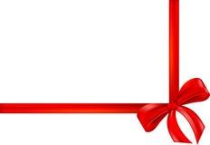 Cinta roja del regalo, arqueamiento, abrigo Foto de archivo