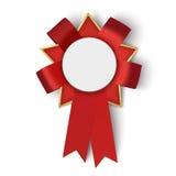 Cinta roja realista del premio de la tela con el espacio en blanco Ilustración del vector Foto de archivo