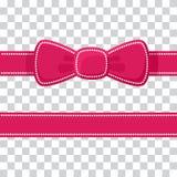 Cinta rosada con el arco en fondo transparente Vector stock de ilustración
