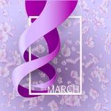 Cinta tarjeta de felicitación del 8 de marzo Imágenes de archivo libres de regalías