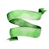 Cinta verde de la acuarela Cinta, bandera o cinta dibujada mano Fotos de archivo libres de regalías