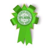 Cinta verde realista del premio de la tela en el fondo blanco Imagen de archivo