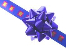 Cinta y arqueamiento azules del regalo Foto de archivo libre de regalías