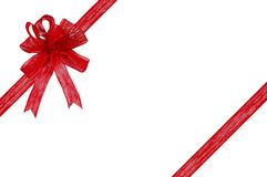 Cinta y arqueamiento del regalo en un fondo blanco Imagen de archivo libre de regalías