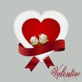 Cinta y rosas de la tarjeta del corazón Fotos de archivo libres de regalías