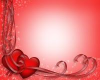 Cintas 3D de los corazones de la tarjeta del día de San Valentín Fotos de archivo libres de regalías