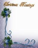 Cintas azules de la frontera de la bendición de la Navidad Imágenes de archivo libres de regalías