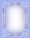 Cintas azules de la guinga de la frontera de las flores Fotografía de archivo
