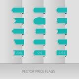 Cintas azules del precio del vector Etiquetas de la venta Foto de archivo