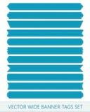Cintas azules del precio del vector La venta amplia marca banderas con etiqueta Fotografía de archivo libre de regalías