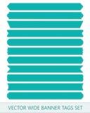 Cintas azules del precio del vector Las banderas anchas de las etiquetas de la venta bordaron el hilo Imagen de archivo