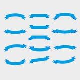 Cintas azules e insignias Estilo plano stock de ilustración