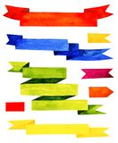 Cintas coloridas de la acuarela aisladas en el fondo blanco Foto de archivo