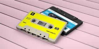 Cintas de casete audio retras con la etiqueta azul aislada en fondo de madera rosado ilustración 3D stock de ilustración