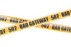 502 cintas de la barrera de la precaución de la entrada del malo, representación 3D Fotografía de archivo