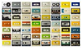 Cintas de la música del vintage de la colección del casete Fotografía de archivo