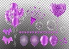 Cintas de la púrpura del confeti y del sistema manojo del ejemplo de cumpleaños libre illustration