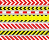Cintas de la precaución y señales de peligro, rayas INCONSÚTILES Imagenes de archivo