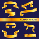 Cintas de oro Foto de archivo libre de regalías