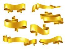 Cintas de oro con el sistema realista del vector del copyspace ilustración del vector