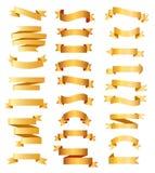 Cintas de oro del vector fijadas ilustración del vector