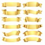 Cintas de oro Elemento de la bandera de la enhorabuena, forma decorativa del regalo amarillo, voluta de la publicidad del oro Vec ilustración del vector