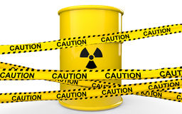 cintas del barril y de la precaución del símbolo de las radiaciones 3d Imagenes de archivo