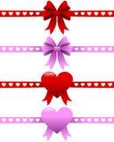 Cintas del día de tarjetas del día de San Valentín fijadas Fotografía de archivo