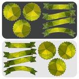 Cintas e insignias verdes del modelo poligonal Vector Foto de archivo