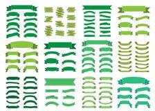 Cintas en blanco hermosas de la decoración del sistema grande verde de las banderas libre illustration