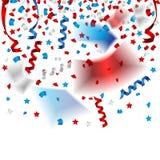 Cintas hermosas del confeti y del partido para el Día de la Independencia de los E.E.U.U. Imágenes de archivo libres de regalías