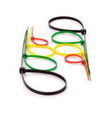Cintas plásticas de nylon multicoloridos no fundo branco Imagens de Stock Royalty Free