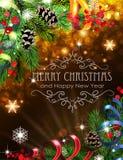 Cintas, ramas del abeto y conos en fondo de la Navidad Imagen de archivo