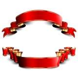 Cintas rojas con las rayas de oro Fotos de archivo libres de regalías