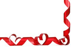 Cintas rojas del corazón Imagen de archivo libre de regalías