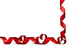 Cintas rojas del corazón Fotografía de archivo libre de regalías