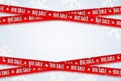 Cintas rojas para la venta de la Navidad en fondo azul claro Copos de nieve de Fallin Venta grande Elementos gráficos Ilustración libre illustration